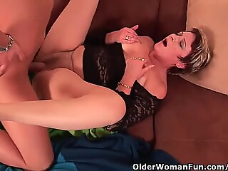 cool grandma enjoys His Cock In Her Mouth And Hairy Pussy