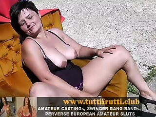 Real amateur plump mom first casting on public place
