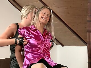 Czech tickle - assistant Samantha is kittled in tan nylon
