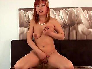 Chubby Asian mommy Mackenzie rides Marek's small cock