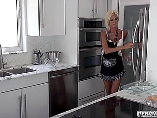 Naughty blonde MILF Olivia Blu plays with her stepsons dick under the table while having a dinner with her husband.