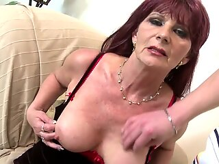 Old grandma slut suck and poke meaty youthful cock