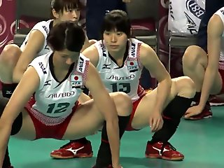 stretch posture of the women's volleyball team of Japan