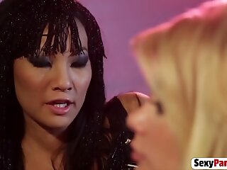 A hot Asian babe indulge in a lesbian sex action with hot blonde and get her pussy licked