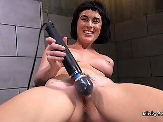 Solo naked brunette lady fucks machine