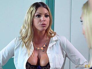 Kinky babes Alex Grey and Brooklyn Chase take on the big cock of Jordi
