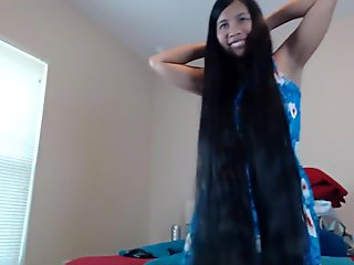 Cute Long Haired Asian Striptease and Hairplay