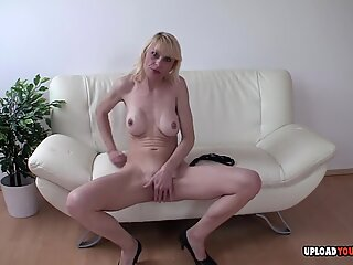 Blonde MILF playing around while nobody is home