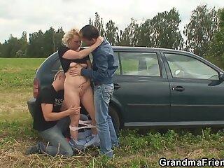 grandma and guys nubile outdoor threesome