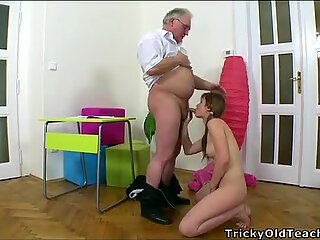 Perverted doggystyle pounding from mature teacher