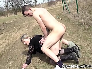 Adventurous granny slammed by horny young stud