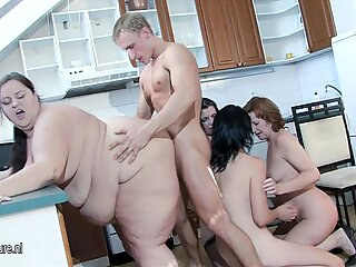 BBW MOM and her friends fuck lucky boy